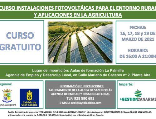 La Concejalía de Empleo abre la convocatoria del curso 'Instalaciones fotovoltaicas para el entorno rural y aplicaciones en la agricultura'